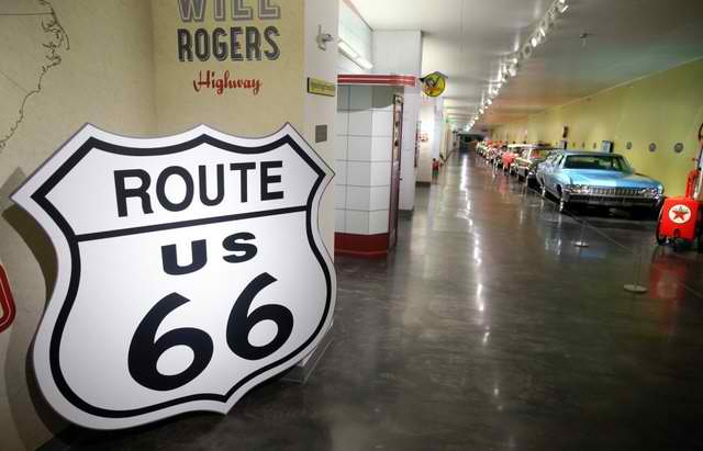 "Copyright 2015 Journal Media Group. All rights reserved. This material may not be published, broadcast, rewritten, or redistributed. The Route 66 "" Dream of the Mother Road"" exhibit at the LeMay-America's Car Museum in Tacoma. (LARRY STEAGALL / KITSAP SUN)"